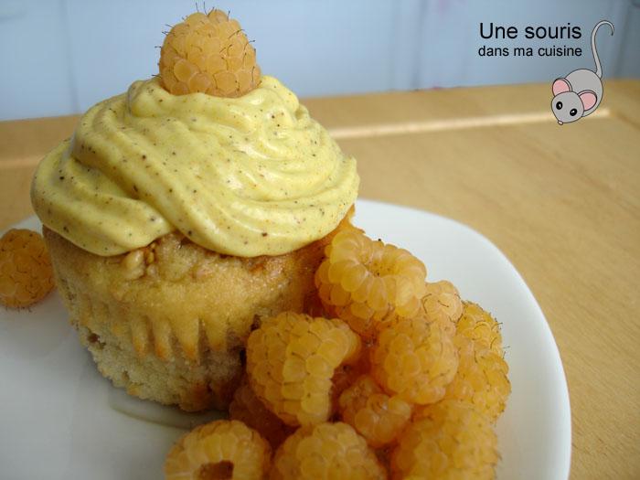 Muffins aux framboises jaunes
