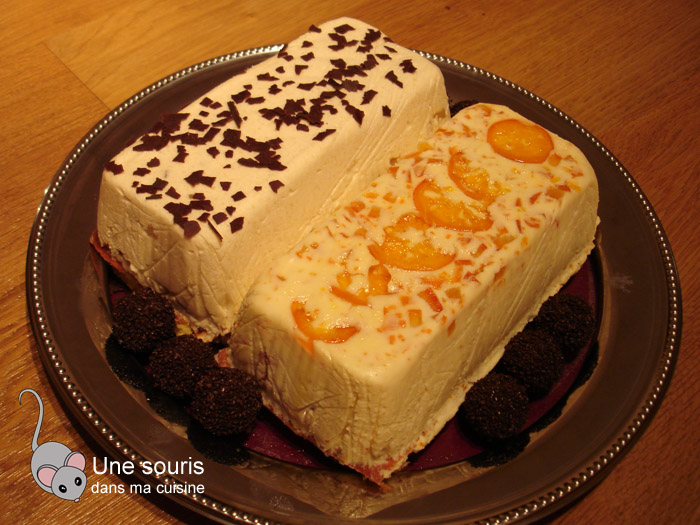 Bûche aux poires et au chocolat et bûche aux clémentines et au chocolat