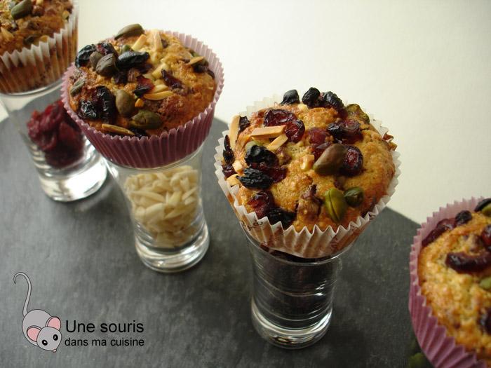 Muffins aux pépites de chocolat et aux fruits secs