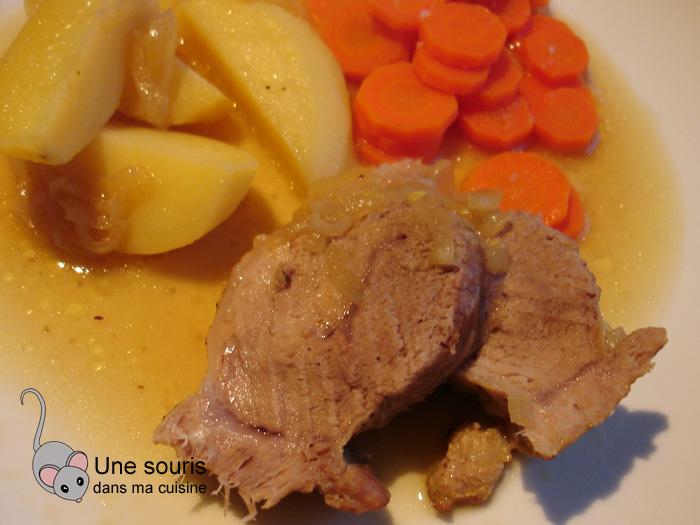 Rôti de porc classique aux patates jaunes