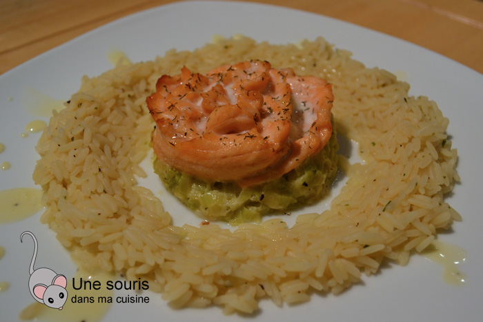 Rosaces de saumon sur du poireau à la crème
