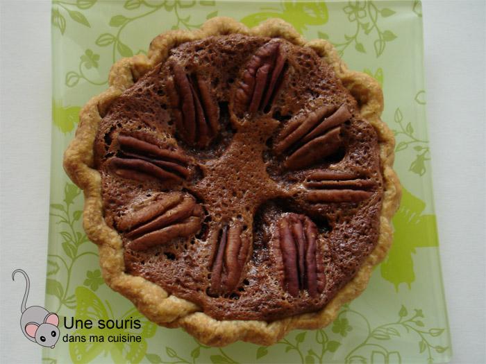 Tarte aux pacanes, chocolat noir et oranges confites