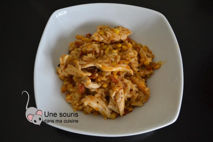Risotto au poulet, chorizo et maïs