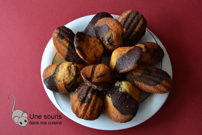 Madeleines marbrées chocolat-vanille