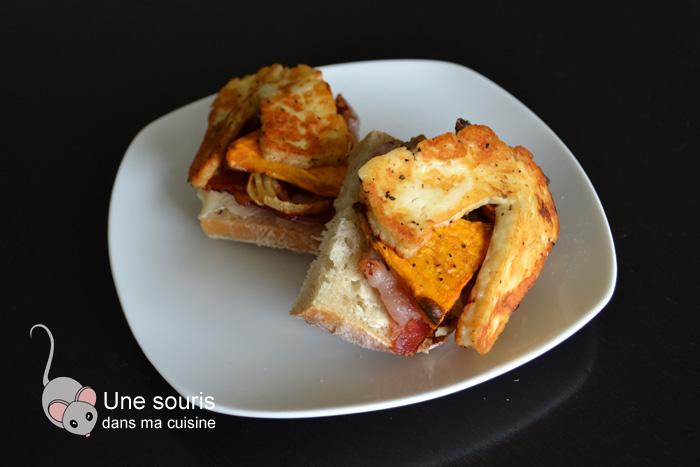 Tartines de patates douces, fromage et bacon