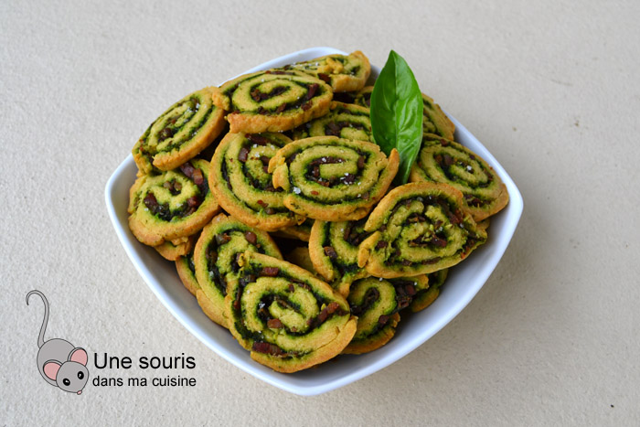 Biscuits spirales pesto et bacon