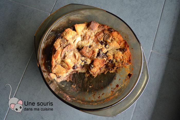 Pouding au pain chocolat et pommes caramélisées