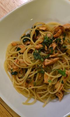 Spaghettini au saumon et au citron