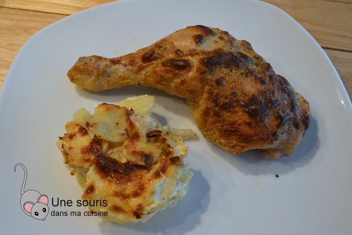 Cuisses de poulet rôti à la moutarde et à la crème