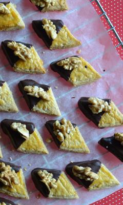 Biscuits losanges noix et chocolat