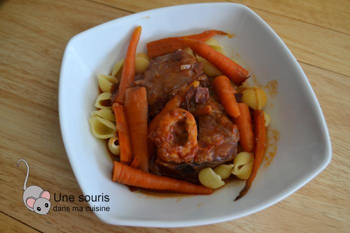 Osso buco au vin rouge, chorizo et carottes