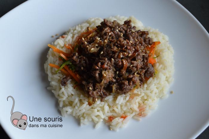 Boeuf coréen sur riz