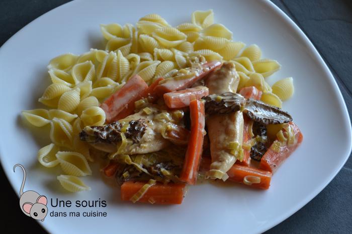 Poulet morilles et carottes