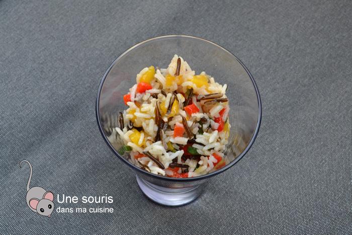 Salade de riz sauvage à la mangue et au poivron