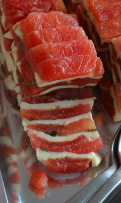 Terrine de tomate, mozzarella et basilic