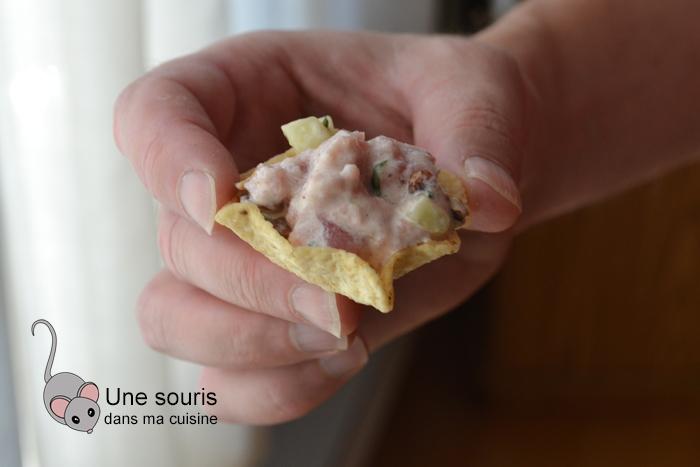 Tartare de thon, pacanes et basilic