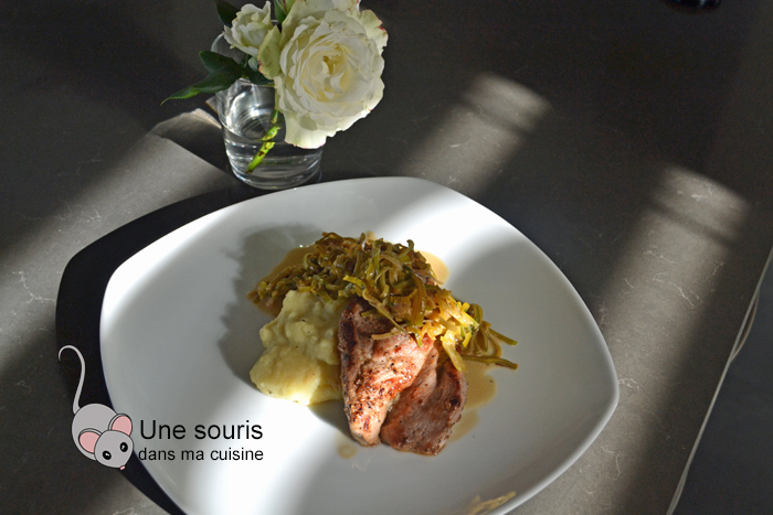 Médaillons de porc sauce au poireau