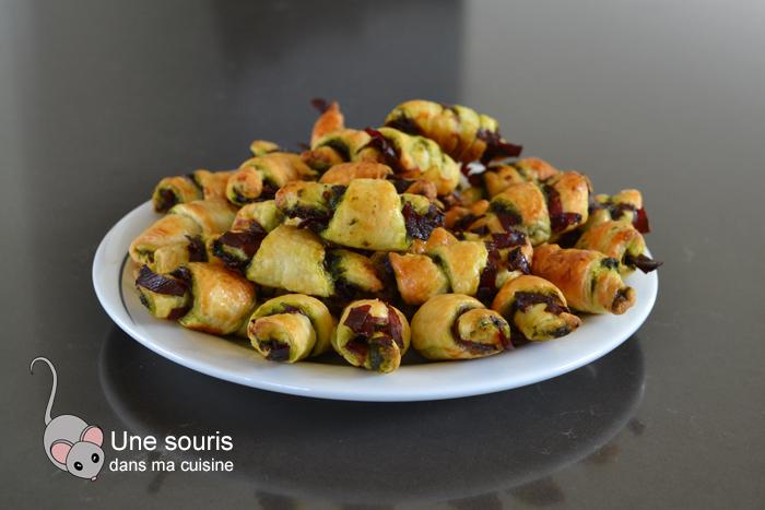 Minis croissants au basilic et à la viande des Grisons