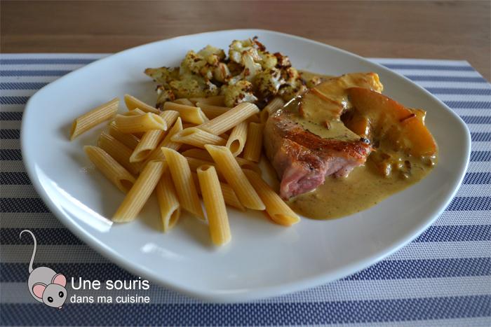 Côtelettes de porc et sa sauce aux nectarines