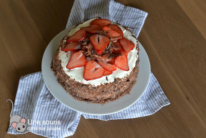 Gâteau Forêt-noire aux fraises