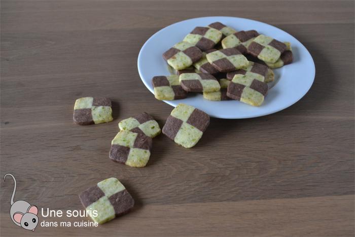 Biscuits damier chocolat et pistache