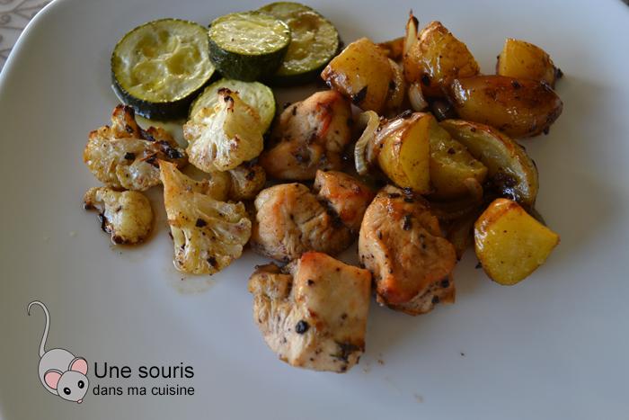 Plaque de poulet à la jerk et légumes