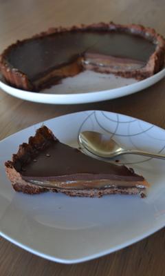 Tarte au chocolat et au caramel