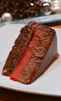 Entremet au chocolat et aux framboises